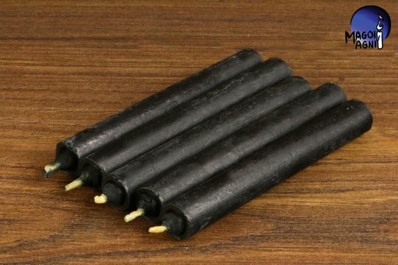 Czarna świeca KOMPLET 5 świec 9x1,2cm -  chroni przed wampiryzmem energetycznym, oczyszcza, absorbuje