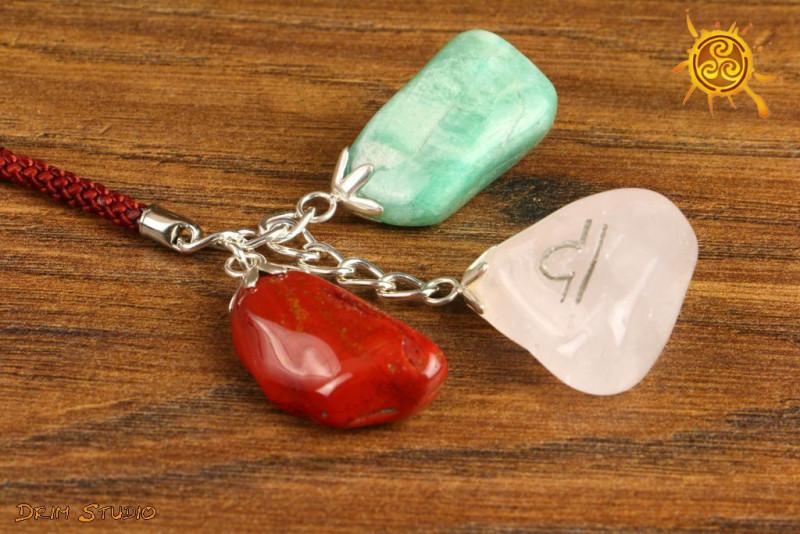 Kamienie Zodiakalne znak zodiaku WAGA brelok - Amazonit, Kwarc Różowy, Jaspis Czerwony