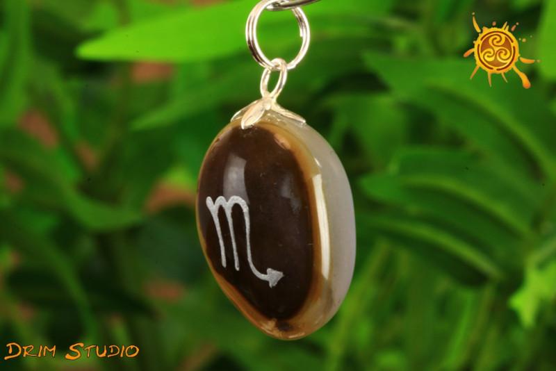 Agat wisiorek znak zodiaku SKORPION - talizman, amulet dla SKORPIONA 23.10 - 21.11